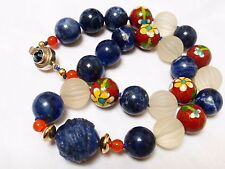CHINESE VINTAGE CARVED BLUE LAPIS CRYSTAL CLOISONNE BEAD NECKLACE, SILVER CLASP