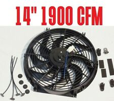 """High CFM 1900 12v Electric 10 Blade 14"""" Radiator Cooling Fan Black ABS"""