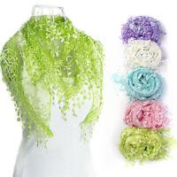 Fashion Lace Tassel Sheer Burntout Floral Print Triangle Mantilla Scarf Shawl