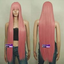 100cm Soft Milkshake Pink Heat Styleable long Cosplay Wigs With Bangs  VL_KPN