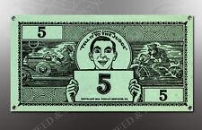 VINTAGE EDDIE CANTORS 5 DOLLAR BILL IMAGE BANNER NOS IMAGE REPRODUCTION