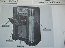MOTOROLA 75F21 PHONOGRAPH - RADIO PHOTOFACT