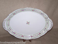 Antique Bassett Limoges Roses with Laurel Band Oval Platter 17""