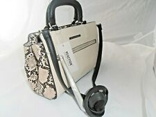 Kenneth Cole Ecru  black snakeskin Tailored satchel Shoulder cross body Bag New