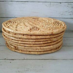 Set of 8 oval woven natural placemats, dining table mats, boho decor, wicker pad