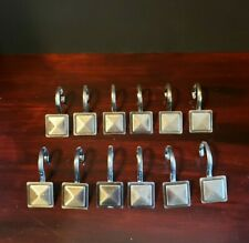 Shower Hooks by Kenney Mfg. 12 Decorative Square Brushed Nickel- Used