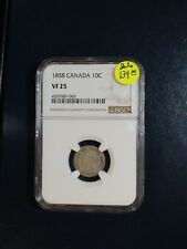 1858 Canada Ten Cents NGC VF25 SILVER 10C COIN PRICED TO SELL!