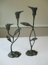 "BRONZE Art Deco LILY 13.5"" High Taper Candle Holders - Set of 2"