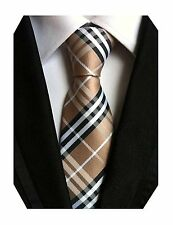 Silk Woven Classic Check Mens Business Tie Necktie Plaid Ties, Brown Black White