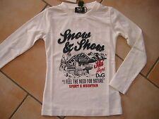 (H702) Dolce & Gabbana Girls Langarm Shirt tailliert Logo & Ski Stickerei gr.128
