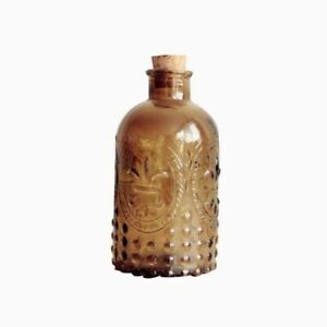 Retro Vase Carved Cork Bottle Glass Tabletop Cork Crystal Clear Yellow Brown