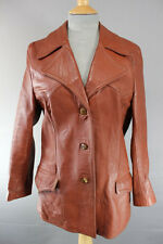 VINTAGE 1970's CLASSIC BRITISH MADE GLENHUSKY BROWN LEATHER COAT 36 INCH