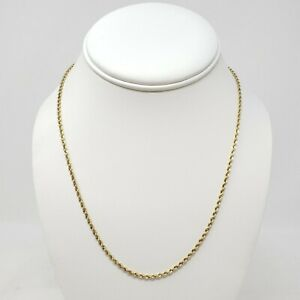 "18k Peru Yellow Gold Hollow Rope Chain Necklace 18"" Unisex 2mm Shiny 2.18g"