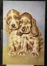 1920's Cute COCKER SPANIEL PUPPIES Puppy DOGS Vintage Unused Postcard