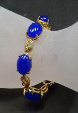 Gold Plate Blue JADE Cabochon Bead Bangle Bracelet Diamond Imitation 322704
