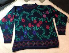 Kate Collins Vintage 1980s Sweater Navy Blue Floral Argyle Size Large