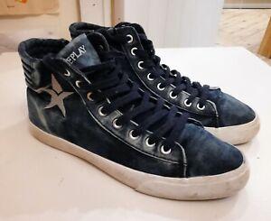 Replay Womens Denim Blue Hi-Top boots EU Size 40 UK 7 shoes trainers
