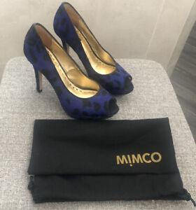 Authentic MIMCO Platform BlUe Leaped Animal Print Heels Sz 37 EUC Box  RRP229