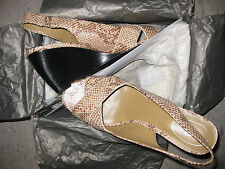 Womens Leather Brownish Taupe off White OpenToe Shoes 8.5 8 39eu Beige