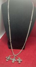 """Brighton Silver 3 Openwork Cross Dangle Double Strand Robo Chain 25-27"""" Necklace"""