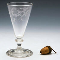 George IV Engraved Ale Glass with Folded Foot c1825