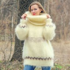 Ivory hand knitted sweater with extra long turtleneck jumper SUPERTANYA SALE
