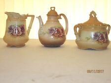 VINTAGE Austria Floral Porcelain China Tea Pot, Creamer and Sugar Bowl, 5 pieces