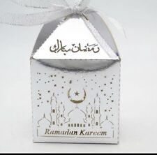 10 Pieces Ramadan Mubarak Date Treat Lolly Gift Favour Box Silver Laser Cut