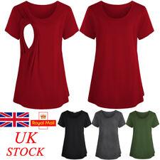 UK Womens Maternity Short Sleeve Clothes Breastfeeding T Shirts Nursing Blouse