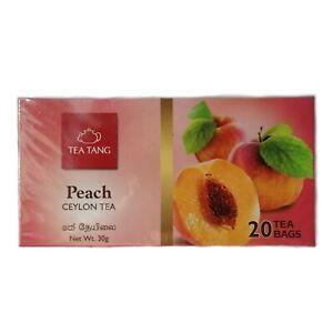 Tea Tang Peach Flavored Black Tea 100% Pure Natural Ceylon Organic 20 Tea Bags
