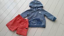 CALVIN KLEIN BABY BOY 18 MONTHS STRIPE HOODIE BLUE SWEATER AND ORANGE SHORTS