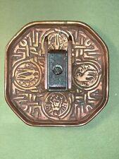 Antique Tiffany Studios Bronze Zodiac Desk Set Ashtray And Match Box Holder