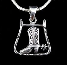 Handcrafted Solid 925 Sterling Silver COWBOY BOOT with SPUR Pendant Lucky Charm