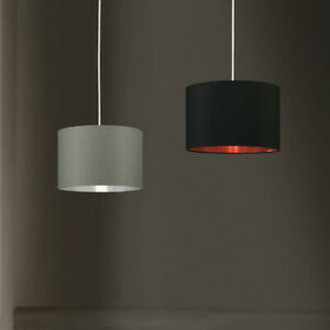 Ceiling Pendant Lampshades in Black or Grey Easy Fit Metallic Lining Lamp Shade