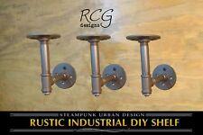 "Three 4x4"" L Brackets DIY Pipes B (8""-10"" deep shelf) urban steampunk rustic"