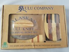 Alaskan Ulu Company Knife Chopping Bowl Salad Servers Set Recycled Wood Kitchen