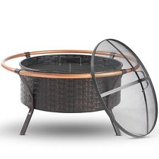 VonHaus Copper Rim Fire Pit with Grill Rack Spark Guard and Poker