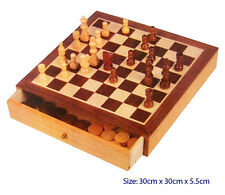 *NEW* Fun Factory Wooden Chess & Checkers Set with Drawers & Pieces
