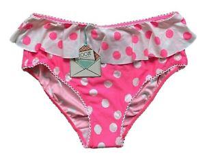 Flozzie Debenhams Bikini Bottoms Polka Dot Pink New Frill Good Coverage 12 & 16