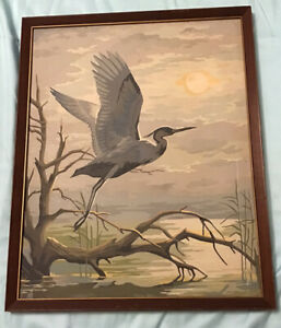 Paint By Numbers Vintage 1950s Original Board Framed Crane Bird Nature