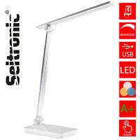 LED Tischlampe Schreibtischleuchte dimmbar Lese-Lampe Nachttischleuchte USB weiß