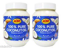2 x KTC 100% Pure Coconut Oil - Edible, Cooking, Hair & Skin Moisturiser - 500ml