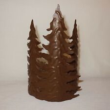 """Pine Trees Metal Pillar Candle Holder 7"""" Table Top Rustic  Home Interiors Gifts"""