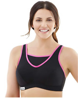GLAMORISE No-Bounce Cami Wire-Free Sports Bra 1066 Womens Size 36G - Black/Pink