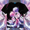 Anime Re Zero Rem Ram Casual T-shirt Unisex Tops Short Sleeve Cosplay Tee #C92