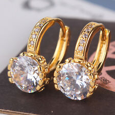 Promise lady ring  24K yellow gold filled white topaz shining hoop earring