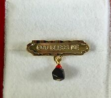 God Bless Me Pin, Solid Gold & Genuine Azabache, Brand New