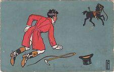 1905 UDB Monogram Artist Postcard — Horse Thrown Rider Hat  F. Fernel ?