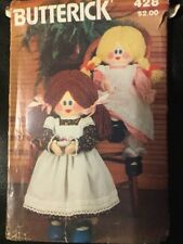 """Butterick 428 23"""" Doll & Clothes Sewing Pattern Uncut Dress Pinafore"""