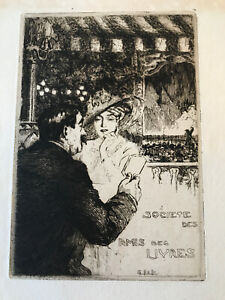 Charles-Jean Hallo ORIGINAL ETCHING Sophisticated Man and Woman at Cafe